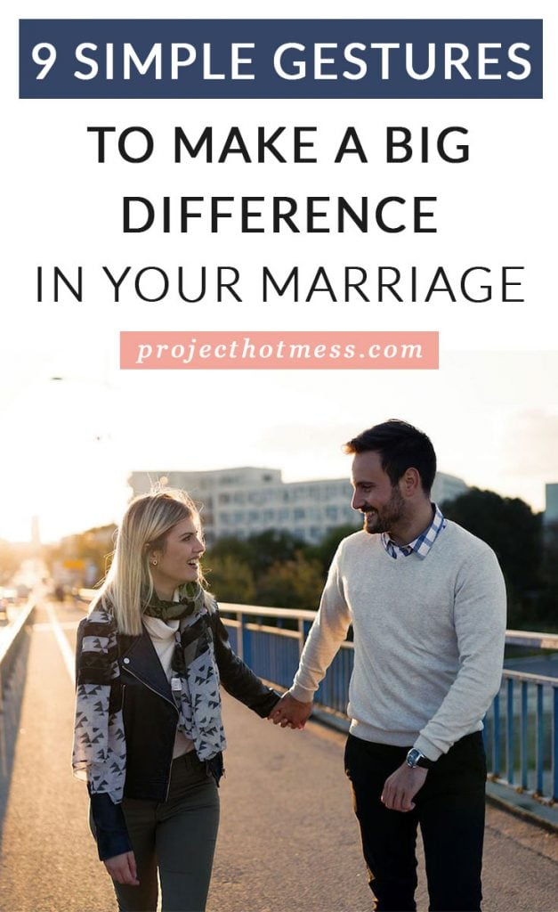 A happy marriage isn't often made up of all the big things. Instead, a happy marriage relies on the little things, the simple gestures you do each day that make a big difference to your marriage. Use these simple gestures as ideas to add into you day and see how much your marriage improves (or maybe you're doing them already!!)