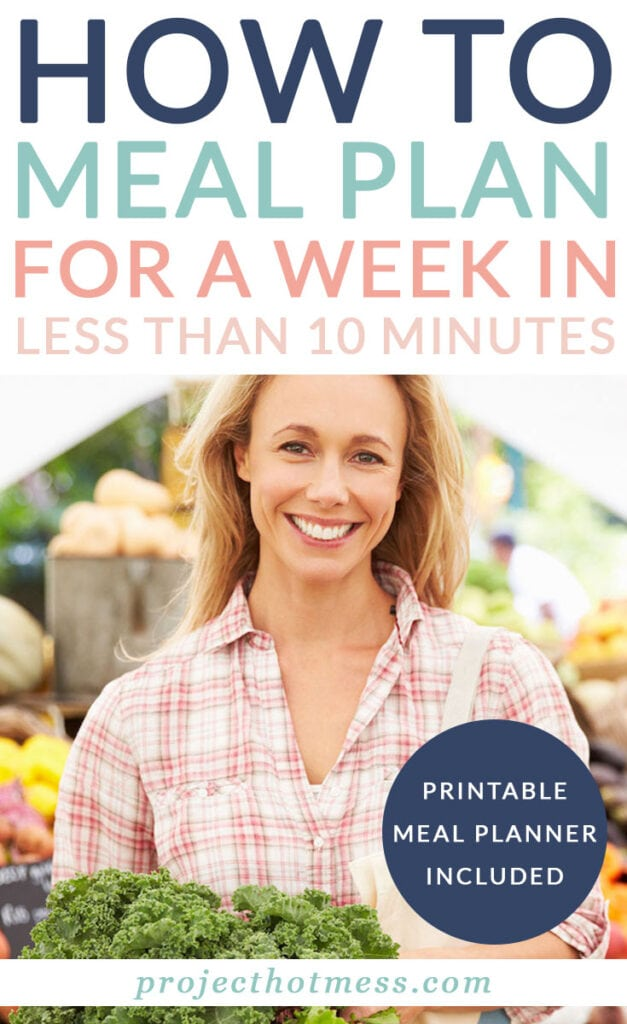 Learn how to meal plan for a week in less than 10 minutes with the help of a few tools and a list you can print out.